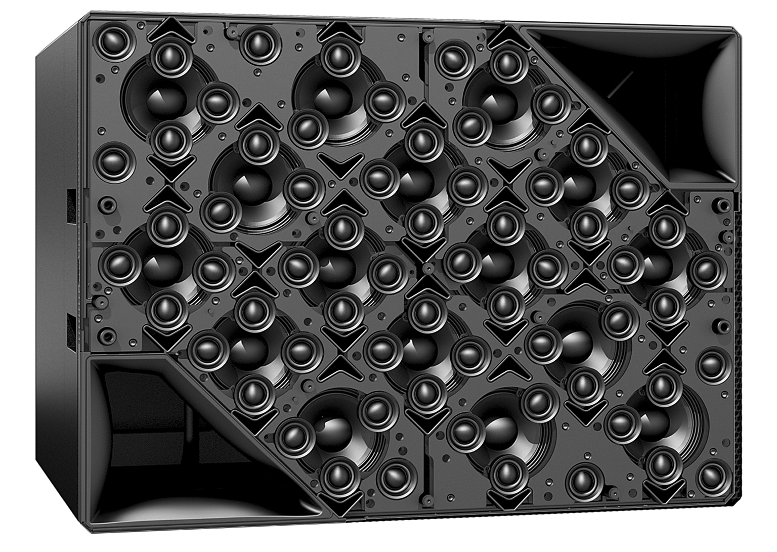 The HOLOPLOT X1 MD80S speaker shown without grille