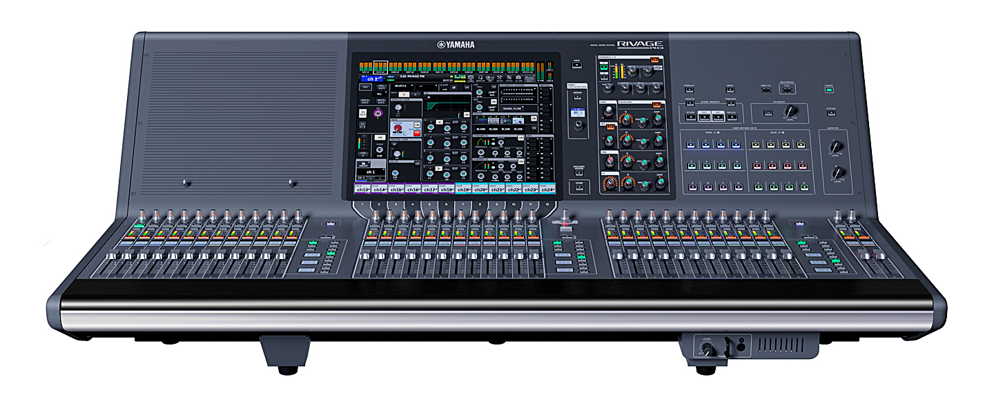 "The most compact console in the series, and due out this fall, the CS-R3 control surface has 38 faders and a single 15"" touch screen"