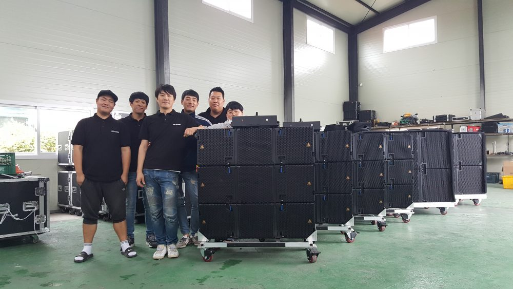 Team from Jun Sound in Icheon, South Korea with Adamson E-Series inventory