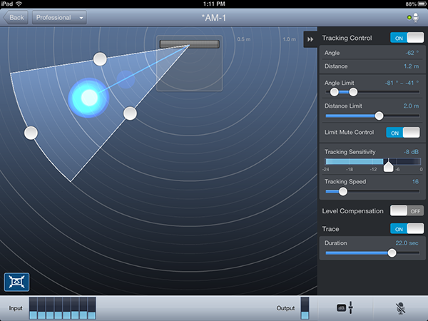 Screen capture of iPad control app shows the AM-1 locked onto a sound source about 1.25 meters from the mic and captured within a 50° wide window.