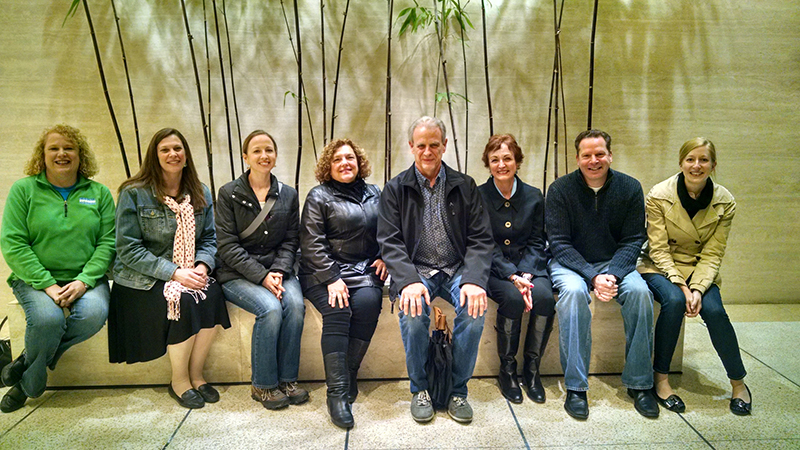 Sensaphonics audiologists celebrate after completing Gold Circle refresher course. Left to right: Theresa Bartlett (Virginia Hearing Consultants, Norfolk VA); Susan Newton (Audiogirl Consulting, Mission KS); Janelle Lane (Albany ENT & Allergy Services, Albany NY); Melanie Holzberg (Plug Life, Asbury Park NJ); Sensaphonics President Michael Santucci; Dr. Gayle Santucci (Chesterfield, MO); Allen Rohe (Tri-City Audiology, Mesa/Tempe/Chandler, AZ); and Sensaphonics audiology extern Katie Kamilos.