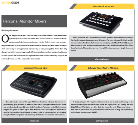 FRONT of HOUSE Magazine Buyers Guide on Personal Monitor Mixers