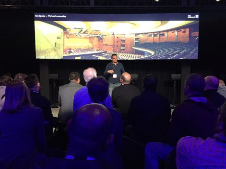 d&b audiotechnik used its demo space at the recent AES show to preview its Soundscape technology. The new system promises to give sound designers and engineers control over multidimensional source placement, acoustic room simulation and signal matrix processor capability to create dynamic audio experiences.