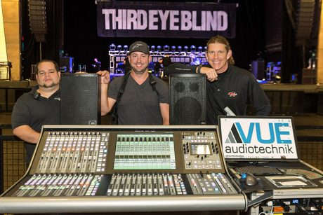 Left to right: monitor engineer Jayson Pietri, tour manager Kyle Wood and FOH engineer Rob Thomas