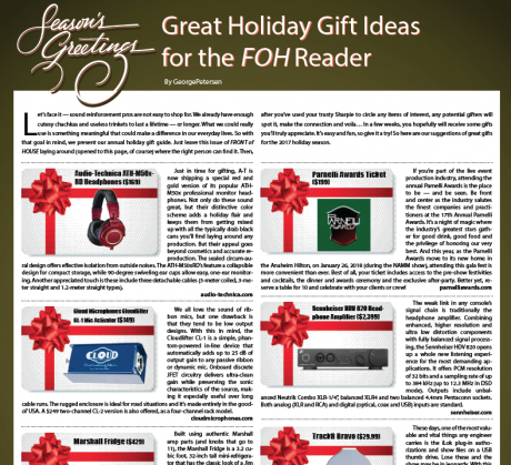 Great Holiday Gift Ideas for the FOH Reader