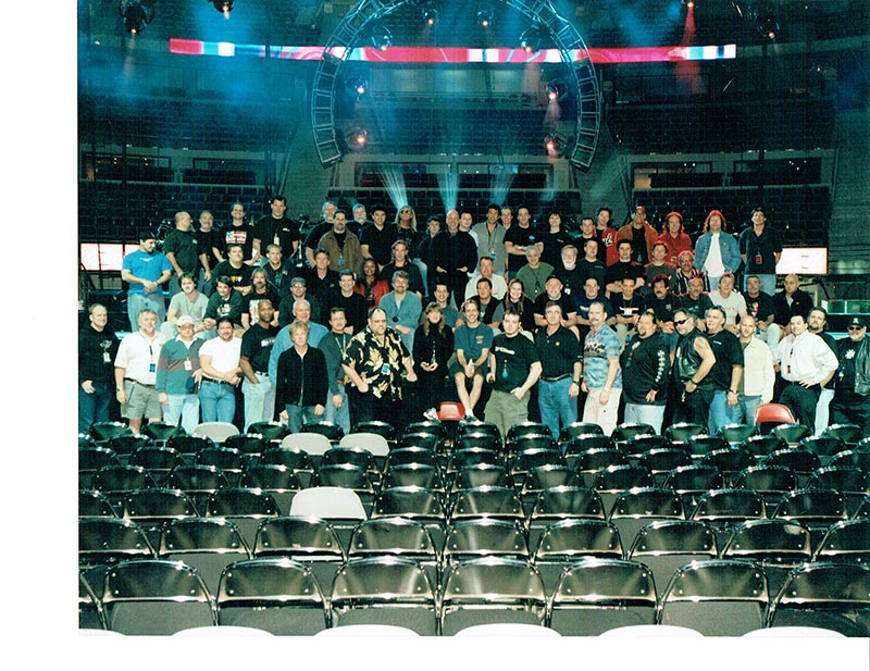 The two crews for Billy Joel and Elton John worked side by side. Pictured here, the teams from 2002.