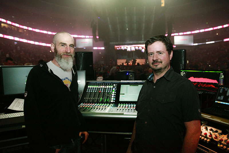 From left, FOH engineer Scott Eisenberg and systems engineer Cameron Whaley