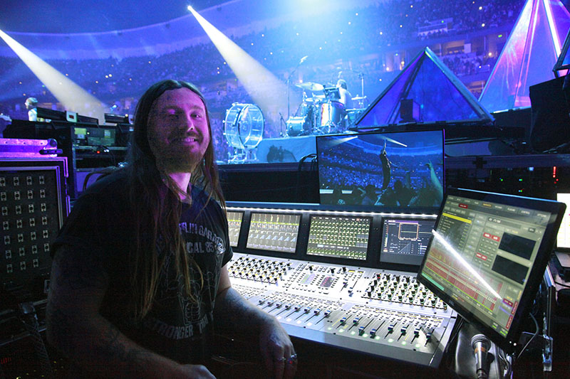 Monitor engineer Jared Swetnam mixes on an Avid S6L