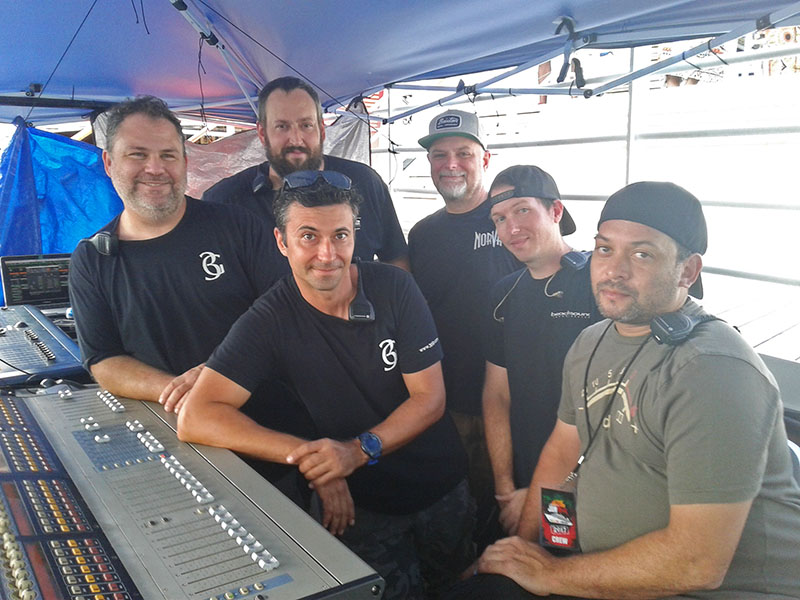 The audio crew, from left, included Neil Rosenstock, FOH Engineer, 3G Productions; Scott Southern, Monitor Engineer, 3G Productions (in back); Troy Arabia, Audio Engineer, 3G Productions (in front); Bill Blackstone, System Engineer, 3G Productions; Johnny Lesak, Patch, 3G Productions; and stagehand Eric Vilaire.
