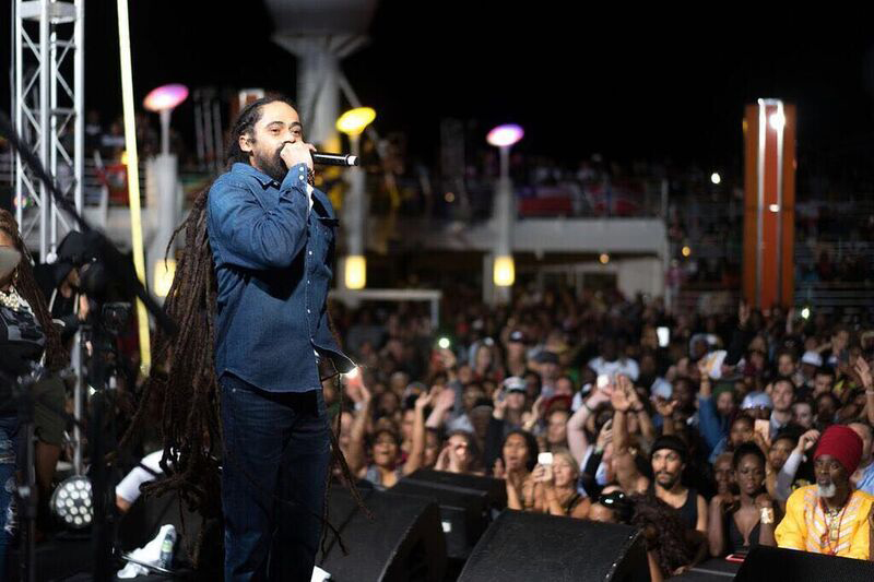 Damian Marley onstage. Photo by Evan Wollenberg