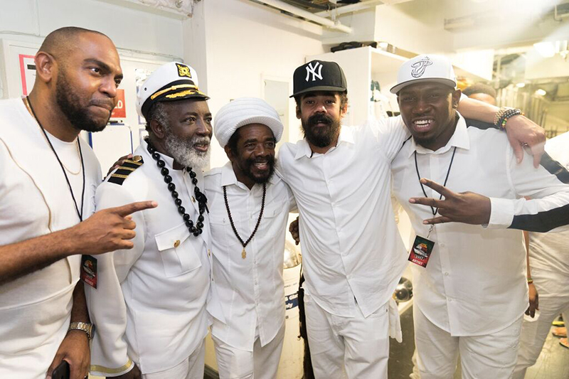 Reggae legends past and future: Jazzy T, Freddie McGregor, Cocoa Tea, Damian Marley and Foota Hype. Photo by Radiant Sun Photography