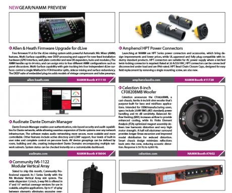 FOH Magazine, January 2018 New Gear - NAMM Product Preview