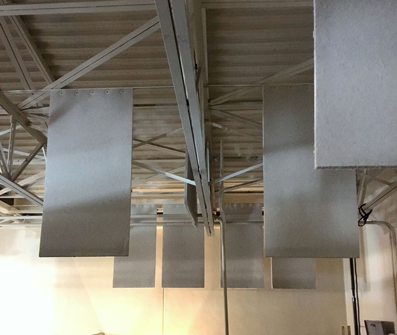 Acoustic panels help tame reverb within the 31,000-square-foot facility's space.