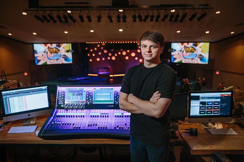 Luke Flowers at FOH with River City Church's Allen & Heath dLive S5000 console.