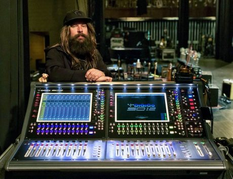 """Jackson Browne's monitor engineer, Mark """"Iggy"""" Niewiarowski, at the tour's DiGiCo SD12, supplied by Schubert Systems Group"""