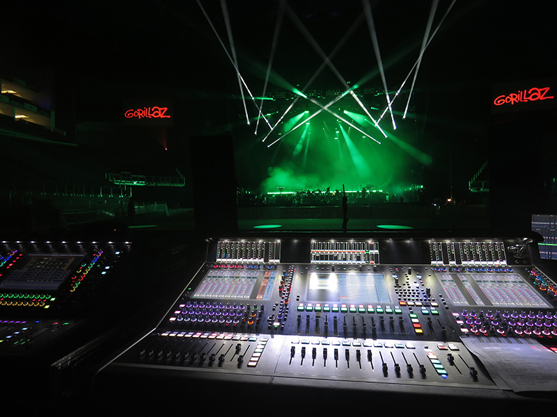 The DiGiCo SD7 at FOH is joined by one at monitors.