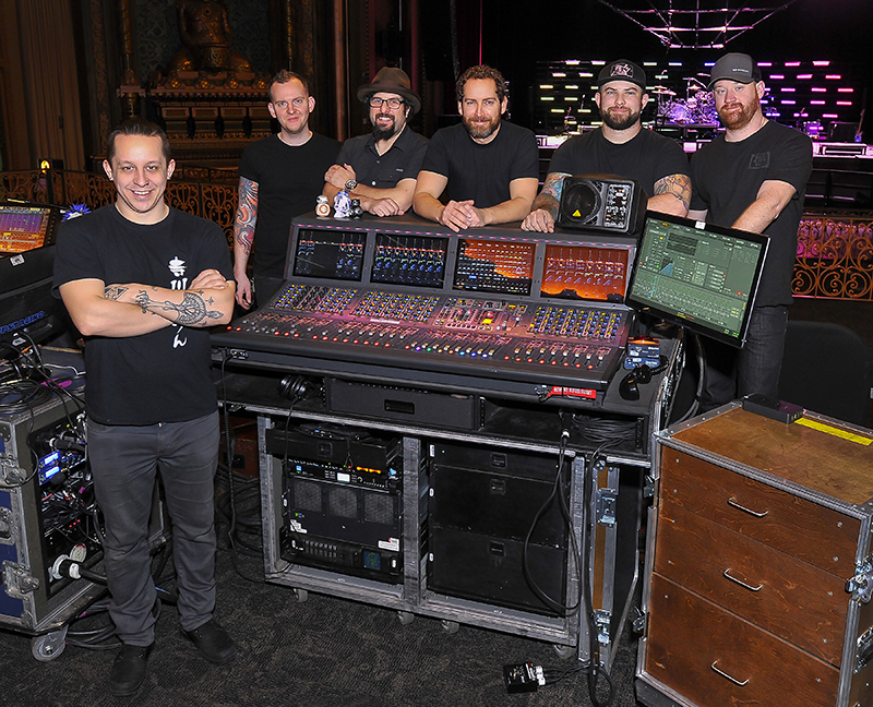 From left, James Wooten, FOH engineer; Daniel Kirkpatrick, monitor engineer; Stuart Berk, production manager; Greg Watlington, playback operator/keyboard tech; Josh Schreibeis, guitar tech; Mitch Sallee, drum tech. Photo by Steve Jennings