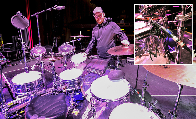 Mitchell Sallee, drum tech, with mic setup (inset). Photo by Steve Jennings