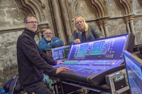 L- R – Erik Jordan, Ian Barfoot and Rick Wakeman at the dLive in Lincoln Cathedral