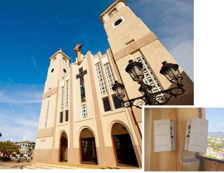 Americlock mounts One Systems 108/HTC loudspeakers to provide coverage around St. Philip the Apostle Cathedral - Puerto Plata