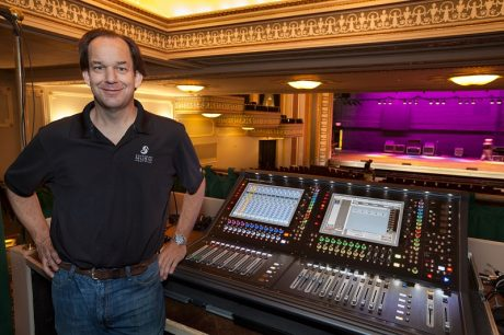 Savannah Music Festival Chief Sound Engineer Chris Evans at the DiGiCo SD12 FOH console deployed at the 1,200-seat Lucas Theatre (photo credit: Bailey Davidson)