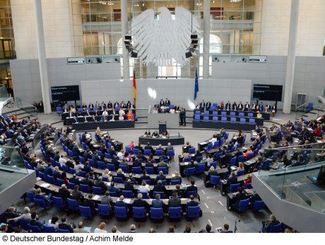 • Plenary Hall in the German Reichstag building, © Deutscher Bundestag / Achim Melde