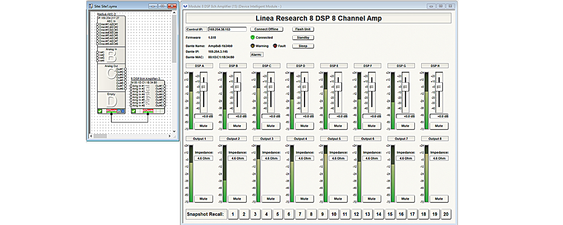 Linea Research amp control in Symetrix Composer 7.3