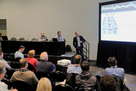 """Attendees listen intently during the """"Making Your Product Great through Adding Pre-Product Innovation Development"""" presentation as part of the Product Development Track at the AES New York 2018 International Convention."""