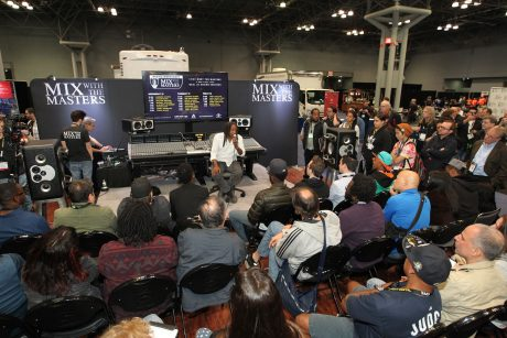 Engineer/Producer Jimmy Douglass addresses attendees during an AES Mix with the Masters Workshop at the AES New York 2017 Convention. (Photo courtesy of Mix with the Masters)