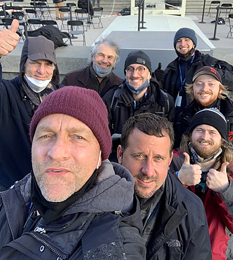 The Maryland Sound International team, pictured at the 2021 U.S. Presidential Inauguration. Pictured L-R, back row: Art Isaacs, Brian Bednar, Maxwell Seltenrich, Jacob Shatuck, Ryan Bode; front row: Sven Giersmann, Paul White, Nevin Brabham.