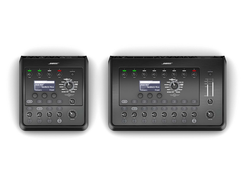 The new four-channel T4S ToneMatch mixer (L) and the eight-channel T8S ToneMatch mixer from Bose Professional.
