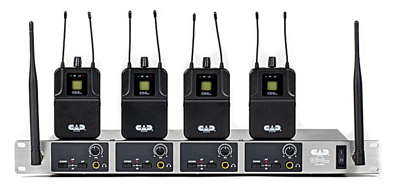 The GXLIEM4 quad mix transmitter with four bodypacks