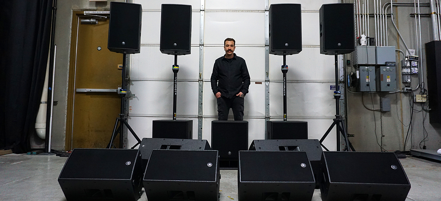 Giancarlo Gadd with his Yamaha DZR loudspeaker system
