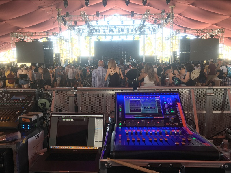 Hayley Kiyoko performing at Coachella, powered by an Allen Heath dLive C1500 and QuSeries