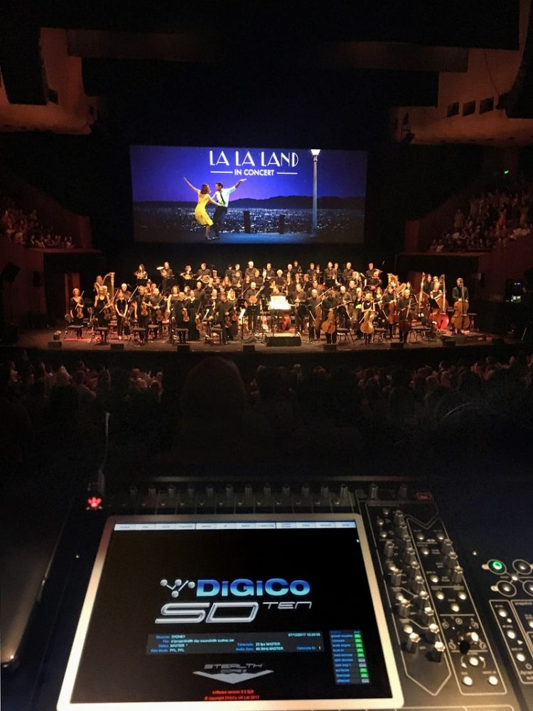 A DiGiCo SD10 at Sydney Opera House's FOH mix position for La La Land in Concert's Australian performances
