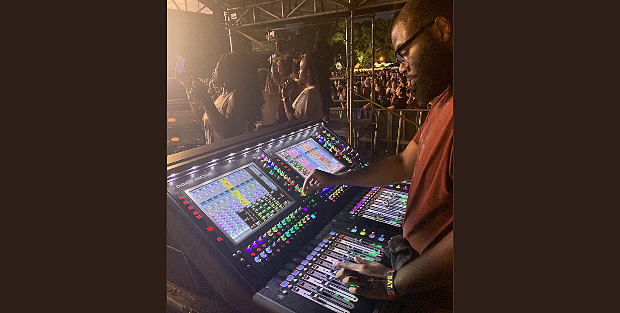 Brandon Blackwell mixing FOH for Lizzo on a new DiGiCo SD12 96 console