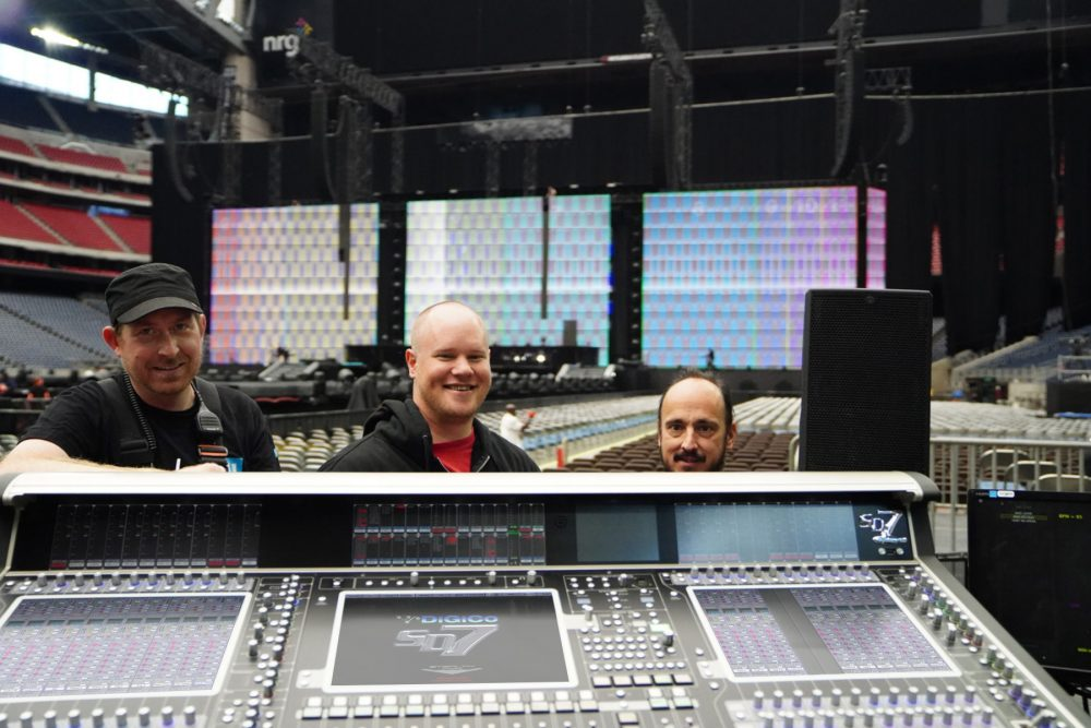 (L-R) Artist monitor engineer James Berry, FOH engineer Stephen Curtin, and band monitor engineer Jimmy Corbin at the On The Run II tour's primary DiGiCo SD7 FOH mixing console