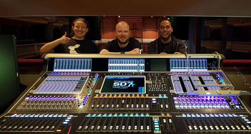 The audio crew at the Ordway Music Theater with the new DiGiCo SD7T Quantum. From left, assistant sound engineer Grace Heatherington-Tilka, associate sound engineer Collin Sherraden and head sound engineer Wendell Bell