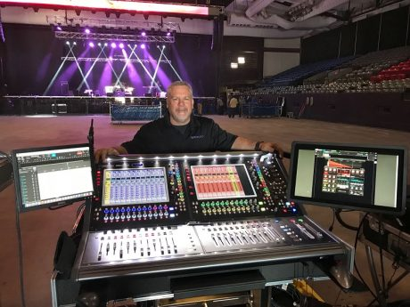 Randy Rogers Band PM and FOH Engineer Marty Weir at the tour's DiGiCo SD12 desk, supplied by Backstage Sound and Lighting