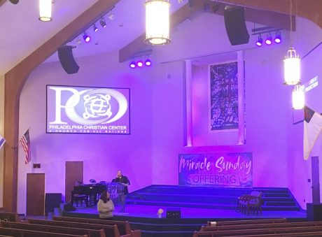 Philadelphia Christian Center utilizes two arrays of five EAW RSX208L three-way, self-powered loudspeakers along with two RSX218 dual 18-inch subwoofers for additional low end.