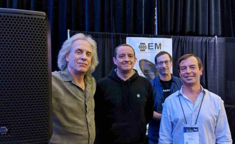 The EM Acoustics team (left-right): Bill Coons, Contact Distribution (Canada; Ed Kinsella, Director EM Acoustics; James Shearing, EM Acoustics North America and Scott Wrege, Pacific AV