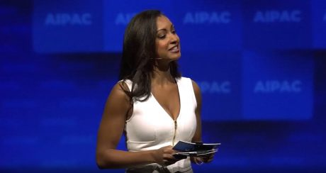 Eboni Williams AIPAC wears redundant headset microphone