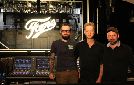 L to R: Maxime Lambert - FOH engineer, Serge Rodrigue - Wireless technician, and Colin Gagné - Sound Designer