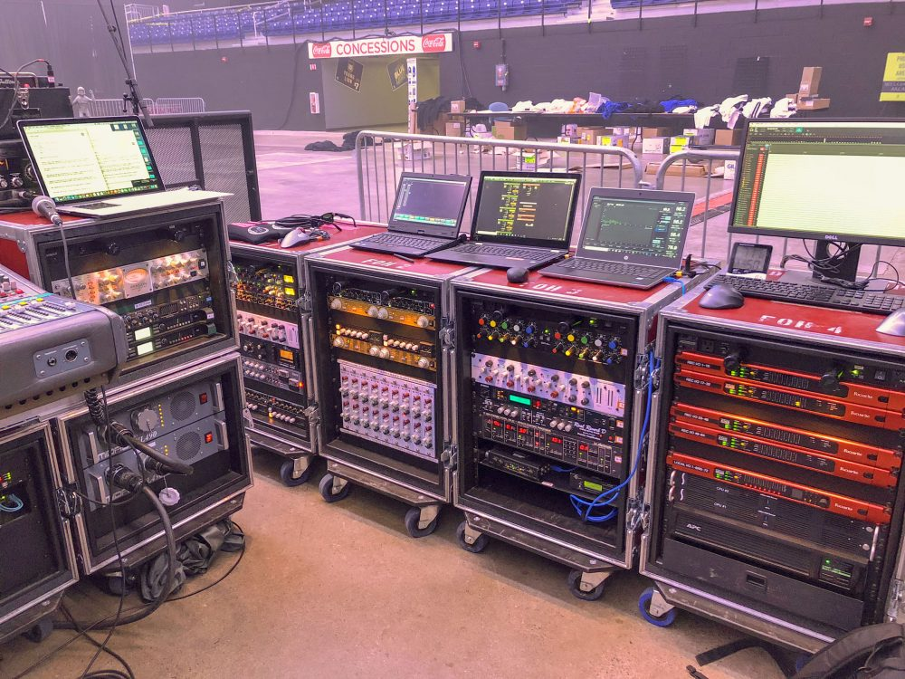Firehouse Productions' RedNet-based drive system racks on site at a recent outdoor gig.