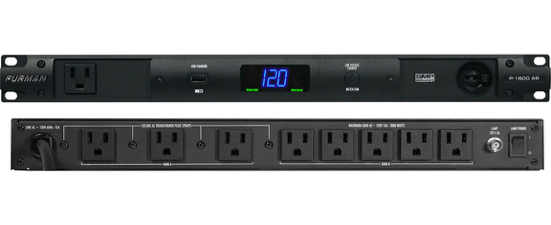 With nine total outlets, including three that are widely spaced for bulky plugs and one on the front for convenience, isolated banks that minimize inter-component noise contamination, a large, easy-to-see voltmeter and ammeter, a front USB outlet for a USB lamp, and LED indicators that warn when incoming voltage is outside the target range, the Furman P-1800 AR delivers the clean, reliable, protected power required for live performances