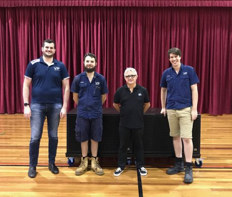 From left to right, Cameron McGuffie and Cal Buckingham – Videopro, Greg Duncan – Business Manager, Holy Spirit College and Jordan Rieck – Videopro