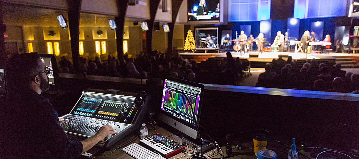 Willowbrook minister of production Chris Olson running FOH and monitor mixes via the church's new DiGiCo S21/KLANG:fabrik combination