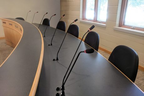 The City Council Chamber in Tallmadge Township, Michigan, featuring an ATUC-50 discussion system from Audio-Technica, installed by KVO Communications.