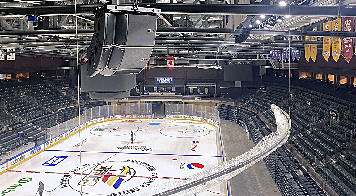 Home to the AHL Colorado Eagles, Budweiser Events Center now features a new L-Acoustics A10-based loudspeaker system, designed and installed by Brown Note Productions.