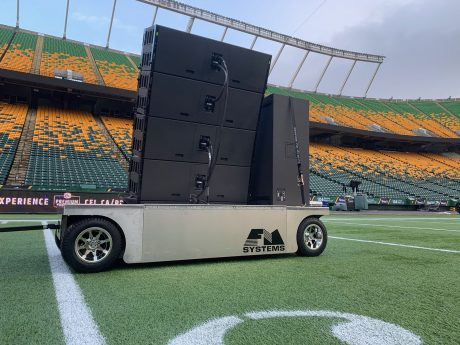 A close-up view of one of FM Systems' custom-fabricated K1/KS28 carts at Edmonton's Commonwealth Stadium